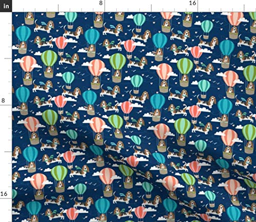 Spoonflower Basset Hound Fabric - Dog Hot Air Balloon Dogs Basset Hounds Basset Fabric Dog Fabric by Petfriendly Printed on Fleece Fabric by The - Hound Basset Fleece