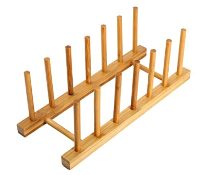 Bamboo Plate Rack For Cabinet Compact Drying Rack Kitchen Storage Holder Stand for Dish / Bowl  sc 1 st  Amazon.com & Amazon.com: Bamboo Plate Rack For Cabinet Compact Drying Rack ...