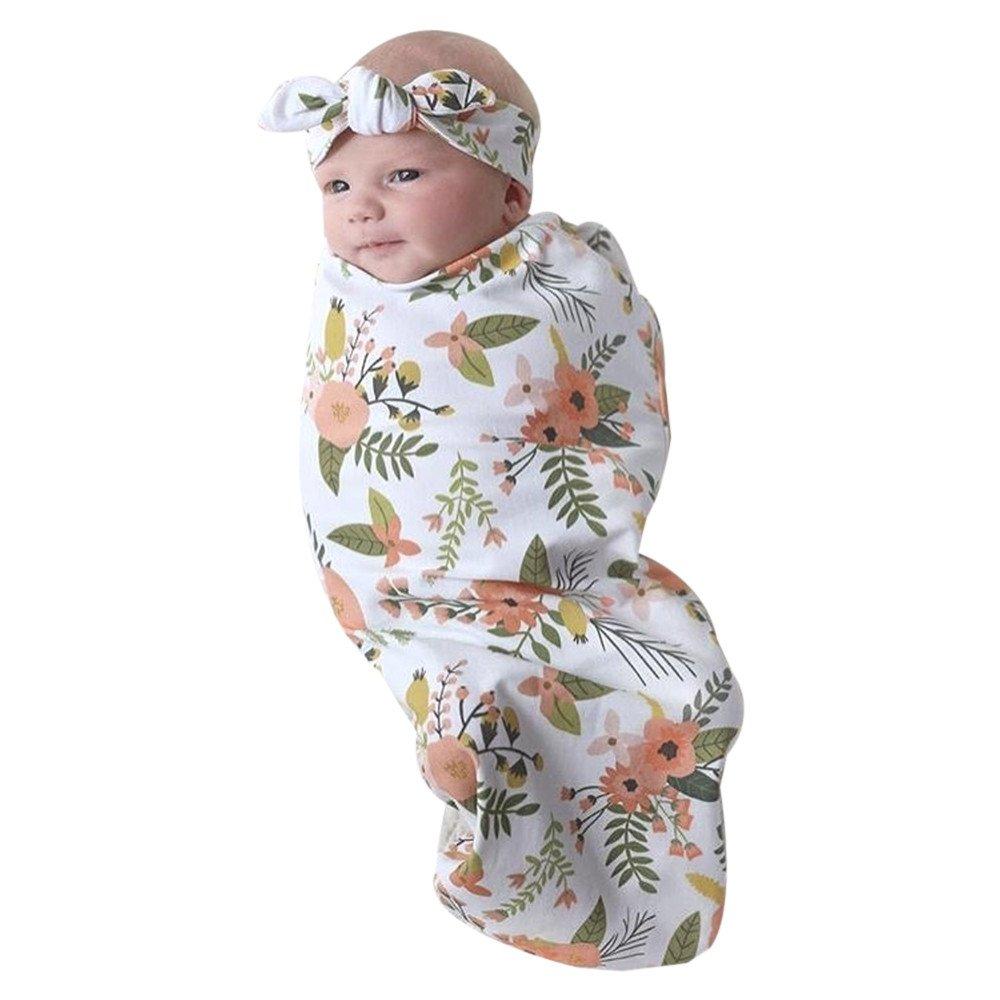 Sameno Newborn Baby Boy Cocoon Swaddle Blanket Sleeping Swaddle Muslin Wrap Hat Pajamas Set (Multicolor)
