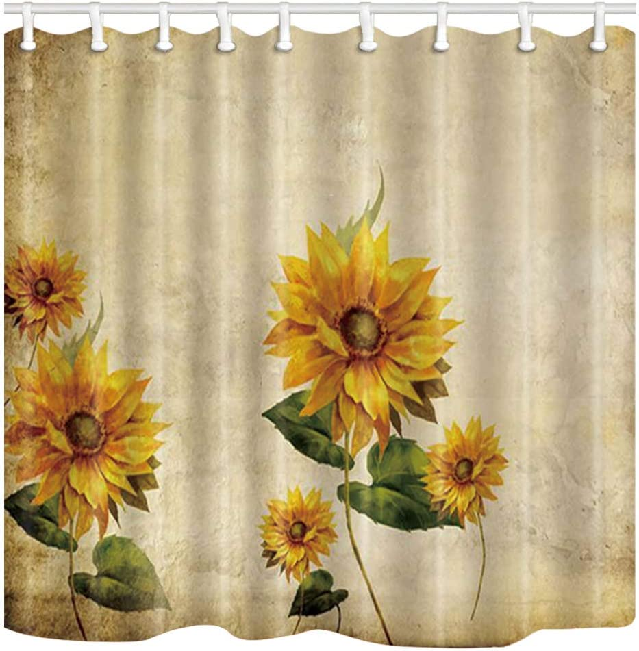 Amazon Com Shocur Sunflower Shower Curtain Rustic Farmhouse Yellow Florals Beige Watercolor Art Painting 69 X 70 Inches Polyester Fabric Bathroom Decor Set With 12 Hooks Kitchen Dining