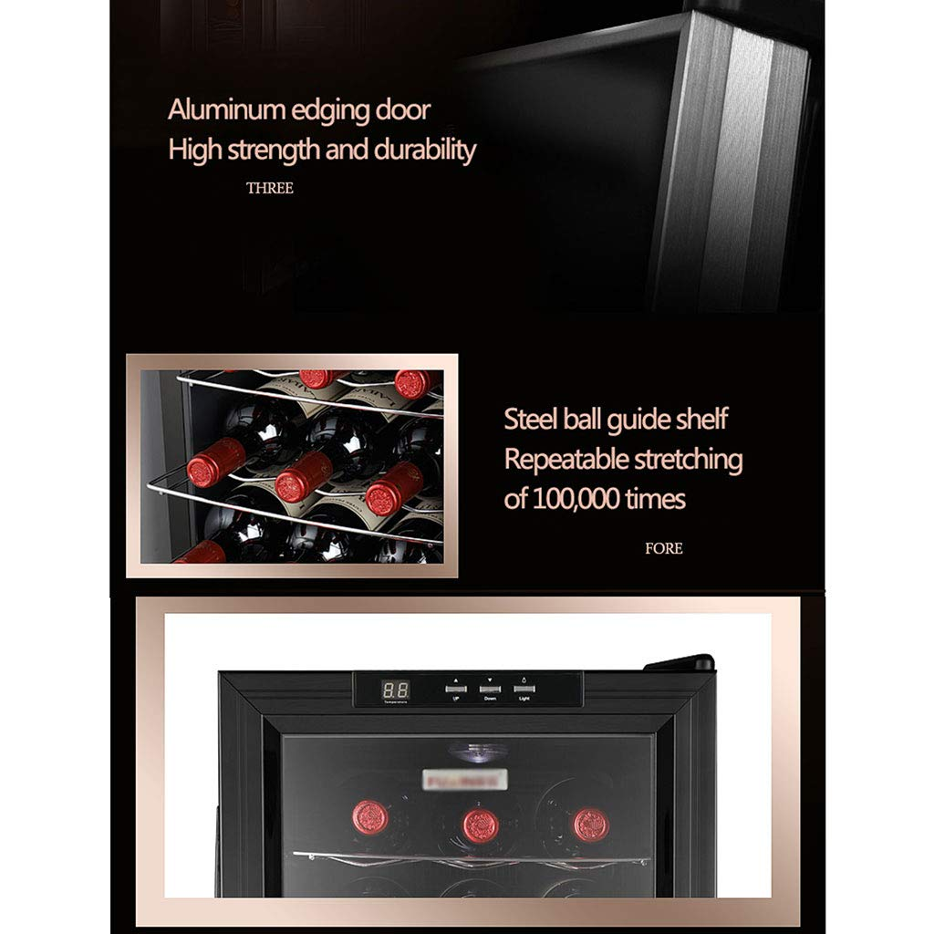 Mini Thermoelectric Wine Cellar Refrigerator 10-18 /° C//Double Glass Door//Constant Temperature//Constant Humidity 12 Bottle Wine Cooler//Beverage Chiller