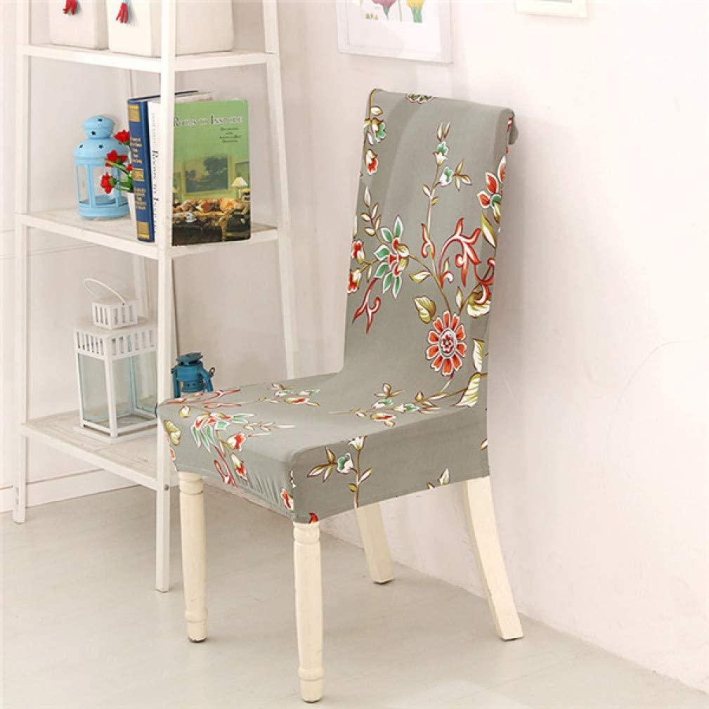 GBTRICON Spandex Short Dining Chair Cover Anti-Dirty Seat Shield Removable Washable Universal Printed Slipcover