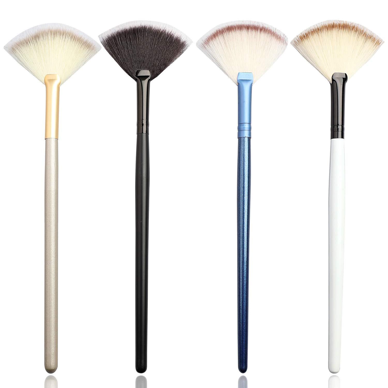 Soft Fan Brush Facial Brush Set, 4 Pcs Makeup Fan Mask Brushes Peel Brush Cosmetic Applicator Tools Acid Applicator Brush for Glycolic Peel Mask