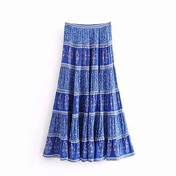 HEHEAB Falda,La Moda De Verano Mujer Chic Vintage Estampados ...