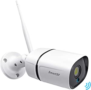 SmartSF 3MP Outdoor WiFi Security Camera Home Security Surveillance Camera with Two-Way Audio,IP66 Weatherproof,Motion Detection,Night Vision,DC Power Adapter,Compatible with iOS/Android System