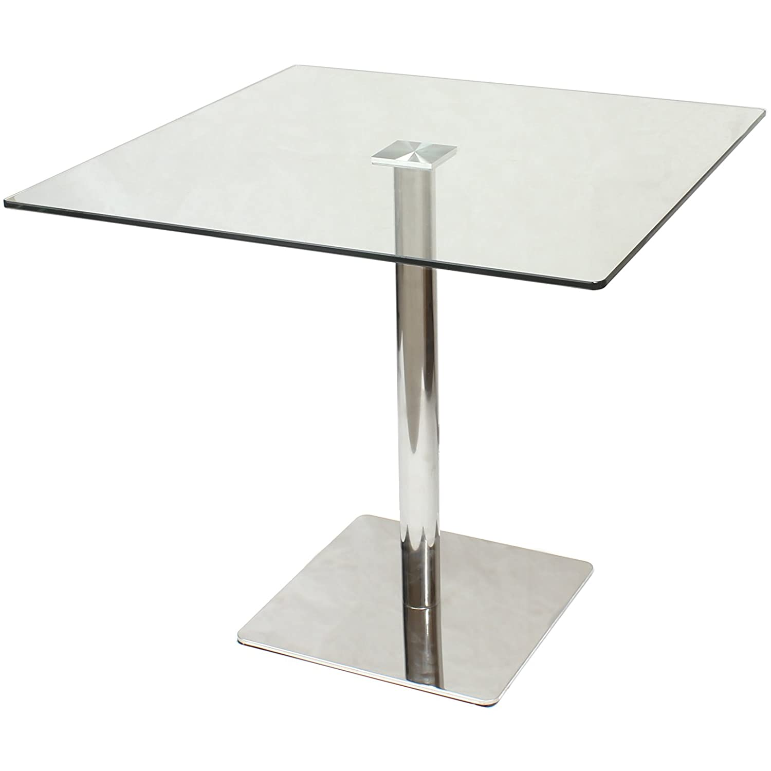 Hartleys 80cm Square Glass Top Dining Bistro Table Amazon