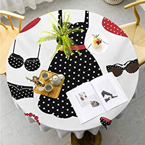 "Jktown 1950s Wrinkle Free Tablecloths Fifties Style Collection Female Fashion Dress Bag Hat Heels Shoes Sunglasses Parties Wedding Patio Dining Diameter 60"",Red Black White"