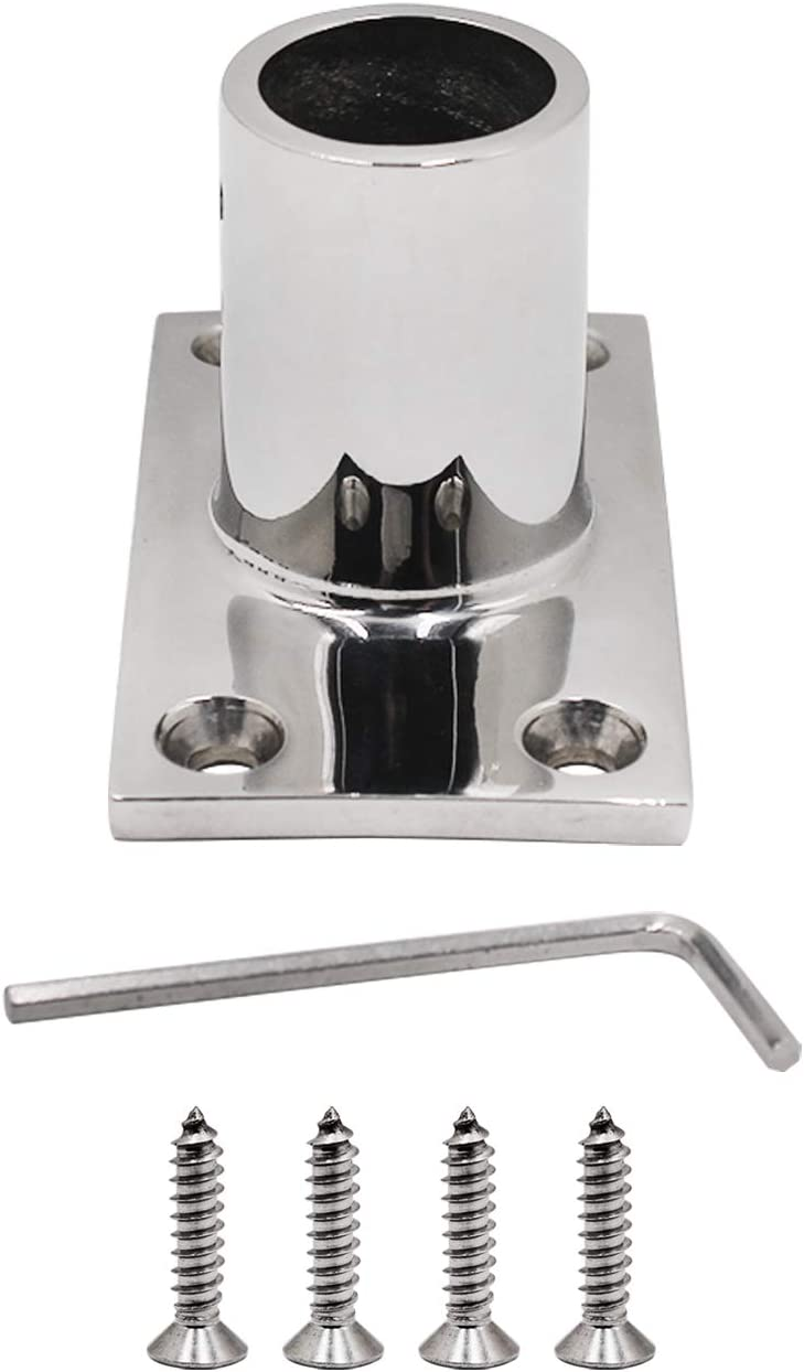 SHENGHUI 7//8 (22.4mm)90 Degree Boat Deck Hand Rail Rectangular Base Marine Hardware Stainless Steel 316 Heavy Duty Boat Handrail Fitting Suitable For 7//8 Tube Pipe with L Shape Hex Key and Screws