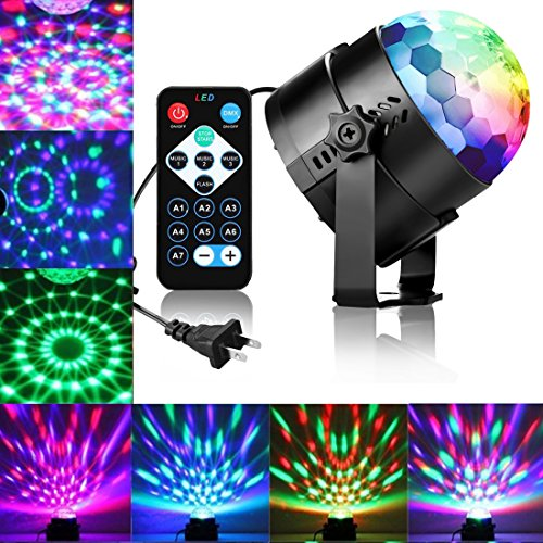 DJ lights Disco Party Ball lights, LED Rotating Magic lights 3W 7-Color Sound Activated Stage Strobe Effect Show