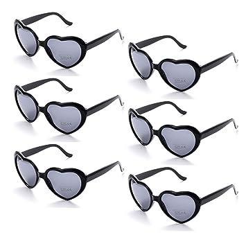 19ffc03a0d Onnea 6 Pairs Neon Colors Heart Shape Party Favors Sunglasses Pack Bulk for  Kids Adults (