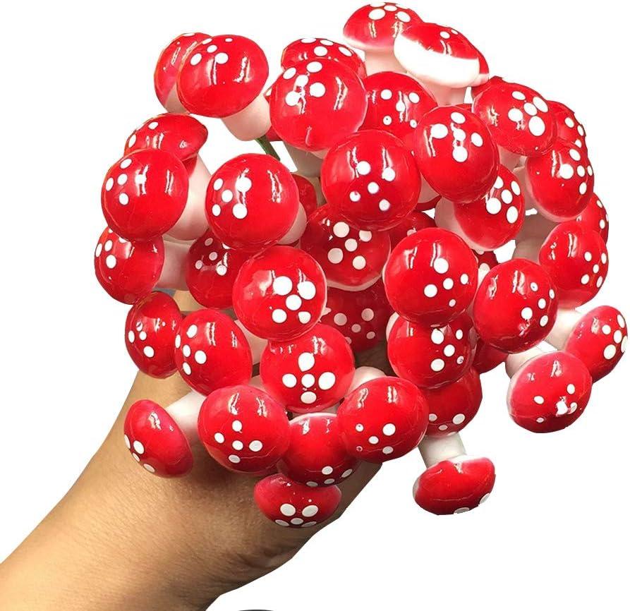 ONNPNN 100 Pieces Mini Mushroom Decoration, Fairy Yard Ornaments, Foam Miniature Figurines Garden Colorful Mushroom Accessories for Micro Landscape, Flower Plant Pots, Bonsai Craft Decor (Red)