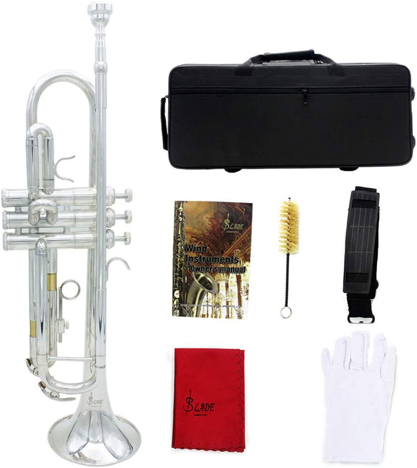 QuTess Brass Bb Trumpet Kit Standard Bb Trumpet Set for Professional Beginner With Case Gloves Piston Brush Cleaning Cloth and Box Belt