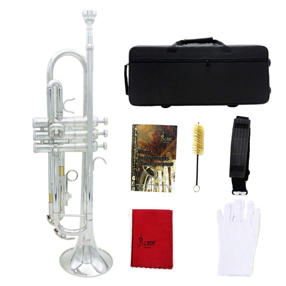ROWEQPP Brass Bb Trumpet Kit for Professional Beginner Silver (Trumpet + Bag + Piston Brush + Gloves + Cleaning Cloth + Bag Belt) by ROWEQPP
