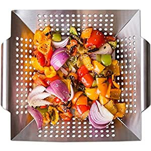 Nonstick Stainless Steel Vegetable Grill Basket & Wok Topper with Carry Handles & Bonus Ebook for No Mess Stir Fry & Grilling Fish, Seafood, Veggies & Fruit by Luxury Grill Products, 12 x 12 x 2.24""