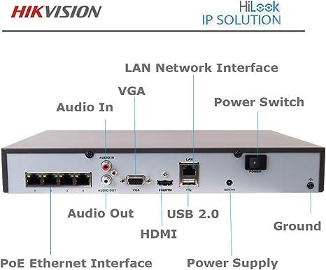 HIKVISION HILOOK IP POE NVR 8CH 4MP NETWORK Grabador de CCTV HDMI 1080P 8 canales 1 TB de disco duro