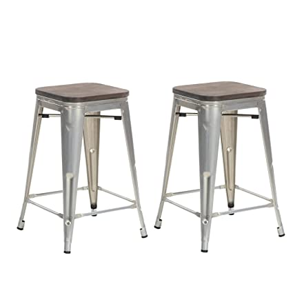 Fantastic Buschman Set Of 2 Galvanized Wooden Seat 24 Inch Counter Height Metal Bar Stools Indoor Outdoor Stackable Pdpeps Interior Chair Design Pdpepsorg