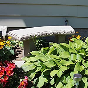 "Emsco Group Garden Bench – Natural Sandstone Appearance – Made of Resin – Lightweight – 12"" Height"