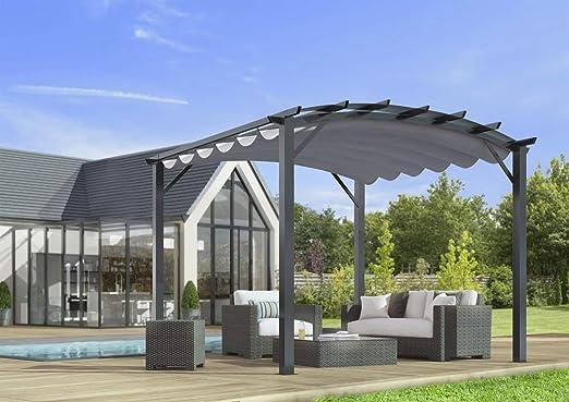 Habrita Pergola - Estructura mixta 11, 22 m2 - Tela gruesa gris ...
