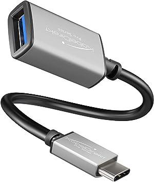 KabelDirekt – Adaptador OTG – 0,15m – (Clavija USB A 3.0 a Conector USB C, Cable de Datos de SuperSpeed, para conectar Discos Duros, lectores de ...