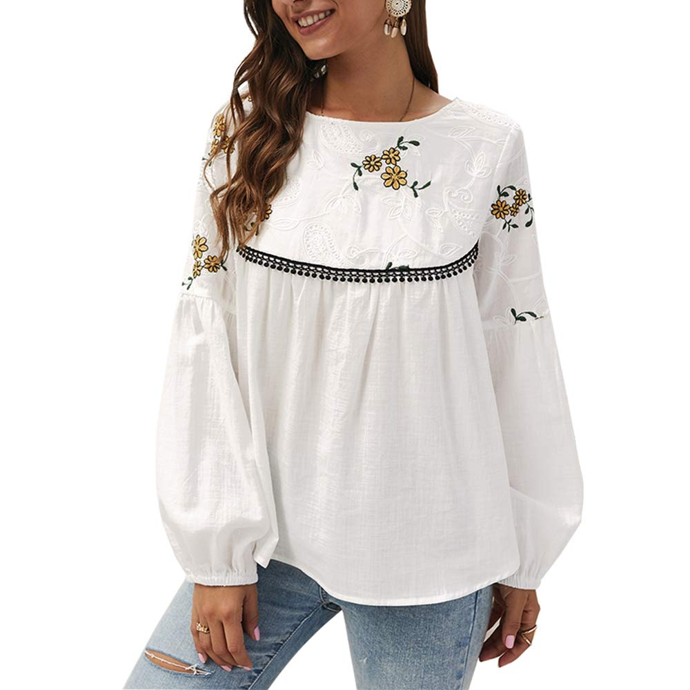 KINGLEN Womens Top Women's Casual Tops Blouse,Long Sleeve Floral Print Embroidered Tassels Crew Neck Loose Shirts Tunic White by KINGLEN Womens Top