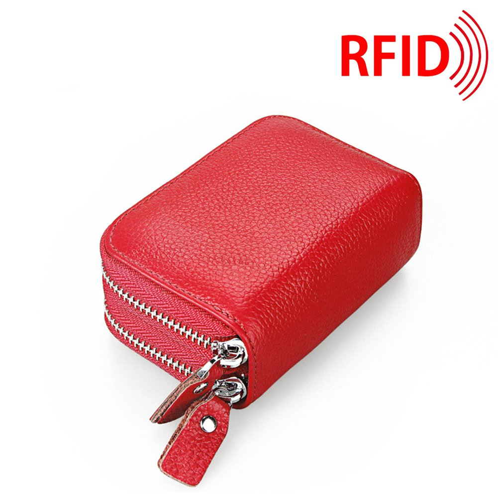 MuLier Top Grain Genuine Leather Double Zipper Around RFID Blocking Anti-theft Women Card Holder Purse (Red) CH0014-red
