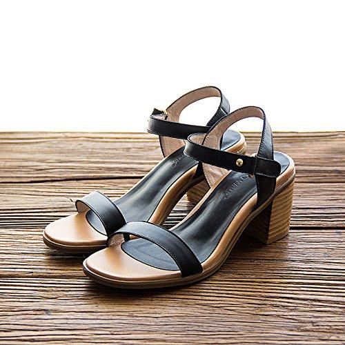 de sandalias mujeres YCMDM de de black la cómodos ocasionales Zapatos tacón primavera del de de zapatos verano ocio alto de las nuevos del cuero las tXv0X8nx7