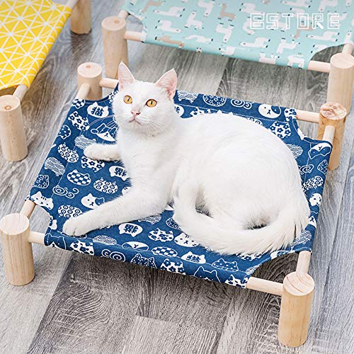 Elevated Cat Beds – Cat Hammock – Pet Cots Small Dog Beds, Wooden Detachable Wooden Frame Square Hanging Cat Sofa Pet Furniture Sleeping Washable for Rabbit Cat Kitten Puppy Indoor/ Outdoor Sunshine