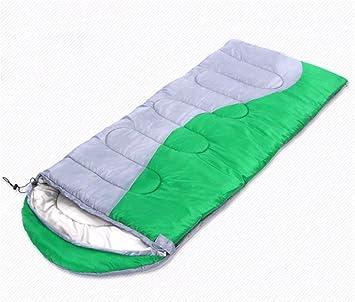 SHUIDAI aire libre espesa saco de dormir hueco de algodón de invierno se puede coser saco de dormir doble pareja, Green: Amazon.es: Deportes y aire libre