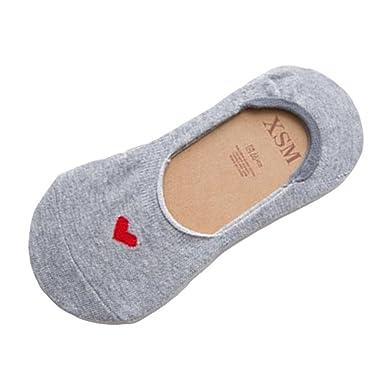 e987fafe6507 BakeLIN Sneaker Socken, Frauen Herzförmig Baumwolle Kurz Söckchen Ankle  Socks Invisible Socks (Schwarz Grau