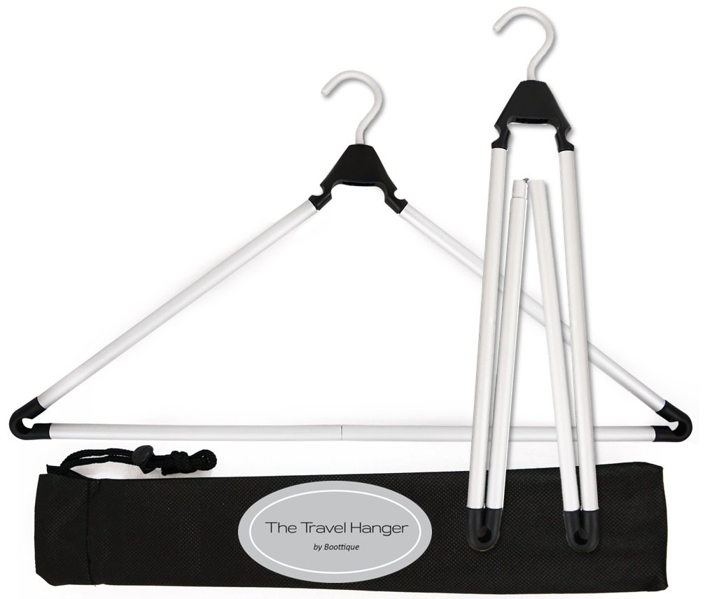 IMPROVED! Travel Hanger, Car Hanger, Clothes Hanger- Foldable Hanger, Folding Hanger, Collapsible Hanger, Portable Hanger (Matte Silver & Black)