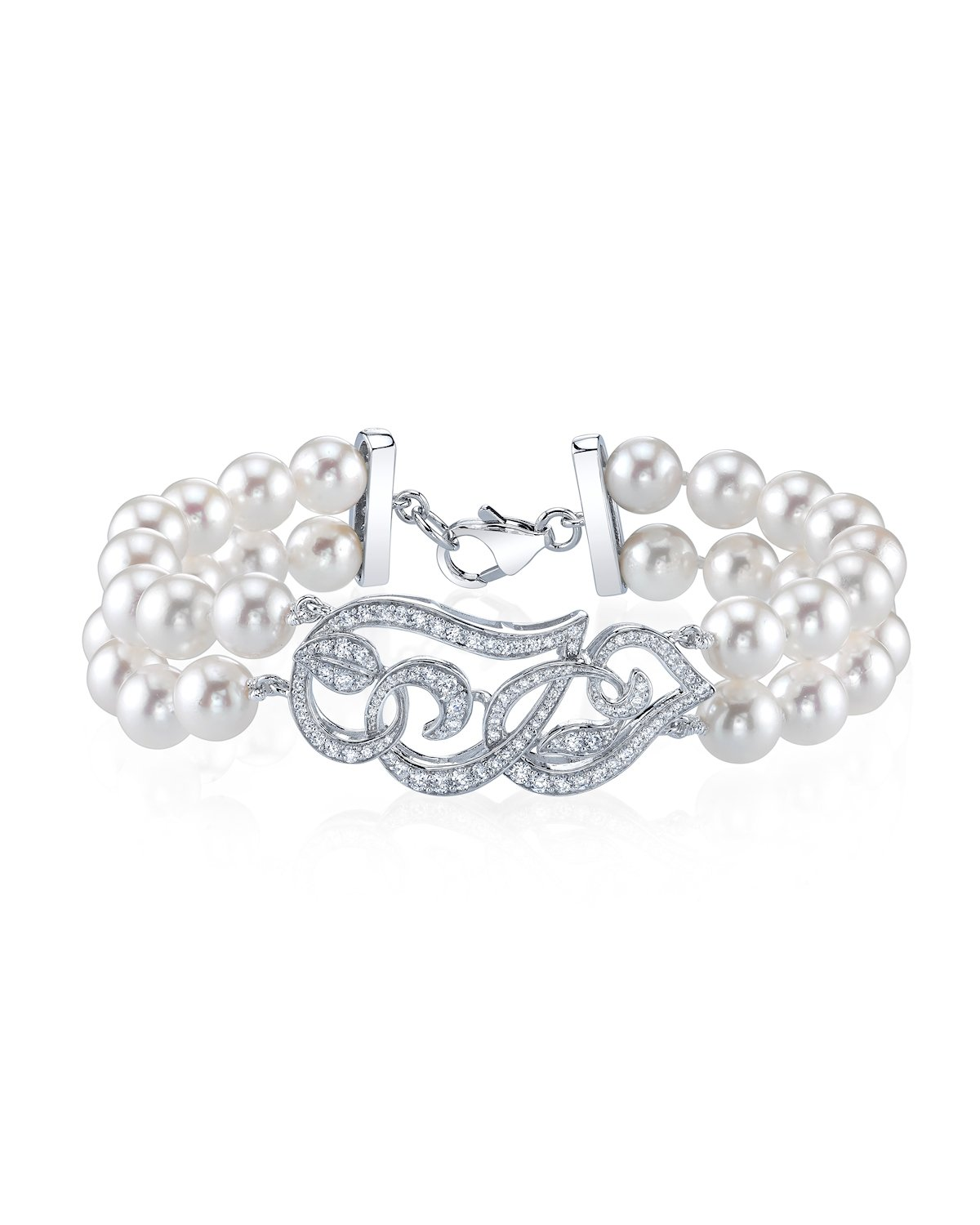 White Freshwater Cultured Pearl & Cubic Zirconia Accent Violet Bracelet