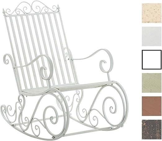 Mecedora De Hierro Smilla I Mecedora Relax De Jardín I Mecedora De Exterior En Estilo Rústico I Sillón Mecedora De Balcón o Terraza I Color:, Color:Blanco: Amazon.es: Jardín