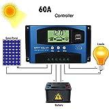 Upxiang 40A/50A/60A/100A Solarladeregler, intelligenter Solarladeregler, MPPT Solar Panel, 12 V/24 V Autofokus Tracking, Solar Panel Regler Laderegler (60A)