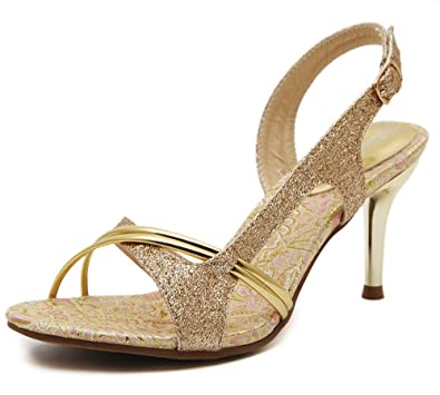 831dbb269328 Aisun Women s Stylish Sequins Open Toe D Orsay Dress Slingback Sandals  Stiletto High Heels Shoes