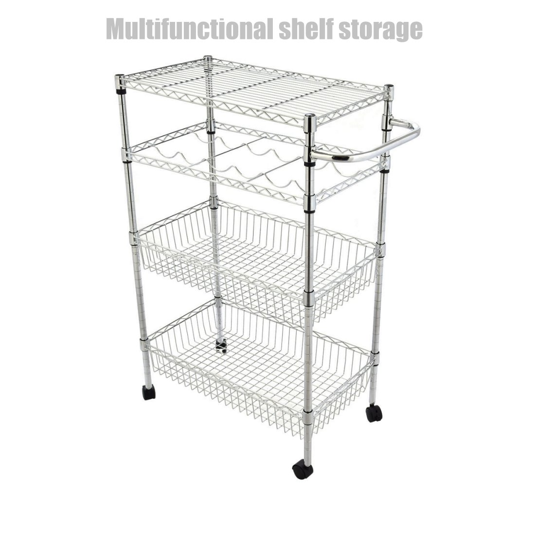 4 Tier Heavy Duty Kitchen Office Rack Wine CollectionStand Storage Trolley Cart Strong Welded Wire Shelving Adjustable Rack Durable Construction Stable Castor Wheels - Chrome Finish #1305