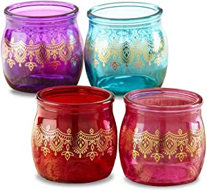 Kate Aspen 27181NA Indian Jewel Henna Tea Light, Assorted Set of 4 Tealight Holder Set, One Size, Red, Purple, Teal with gold