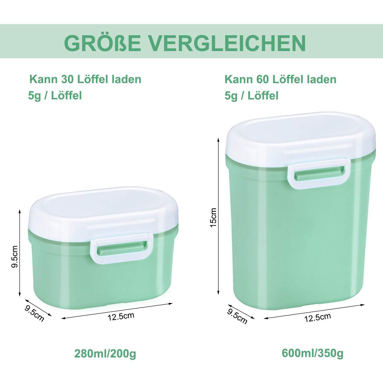 Milchpulver Aufbewahrung Milchpulver Spender Portable Baby Milchpulver Dose Container Box BPA-frei Lebensmittel Snacks Obst Lagerung f/ür Infant Kleinkind Kinder-Anzug f/ür die Reise Gr/ün