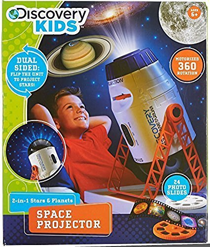 DISCOVERY KIDS Incredible 2-In-1 Planetarium Space Projector, Explore Galaxies, Planets and Nebulas, 360' Rotation, 24 Stunning Images on 3 Slides, Incredible Clarity, Children's Educational STEM Toy