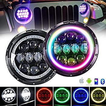 Image of Headlight Assemblies 4XBEAM 7 Inch RGB Halo LED Headlights for Jeep Wrangler JK LJ TJ CJ Hummer H2 H1 Sahara Sport Rubicon | DOT Approved