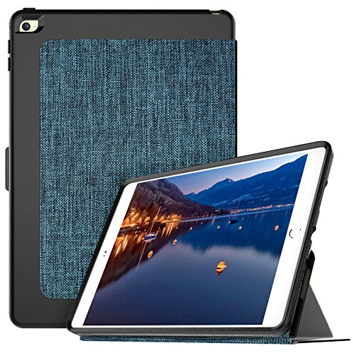 Lthr Hard Case - iPad Air 2 Case, iPad 6 Case, Cellularvilla Premium Fabric Leather Smart Stand Case with Soft Tpu Back Shell Protective Cover [Auto Wake/Sleep Feature] For Apple iPad Air 2 / iPad 6 (Dark Blue Black)