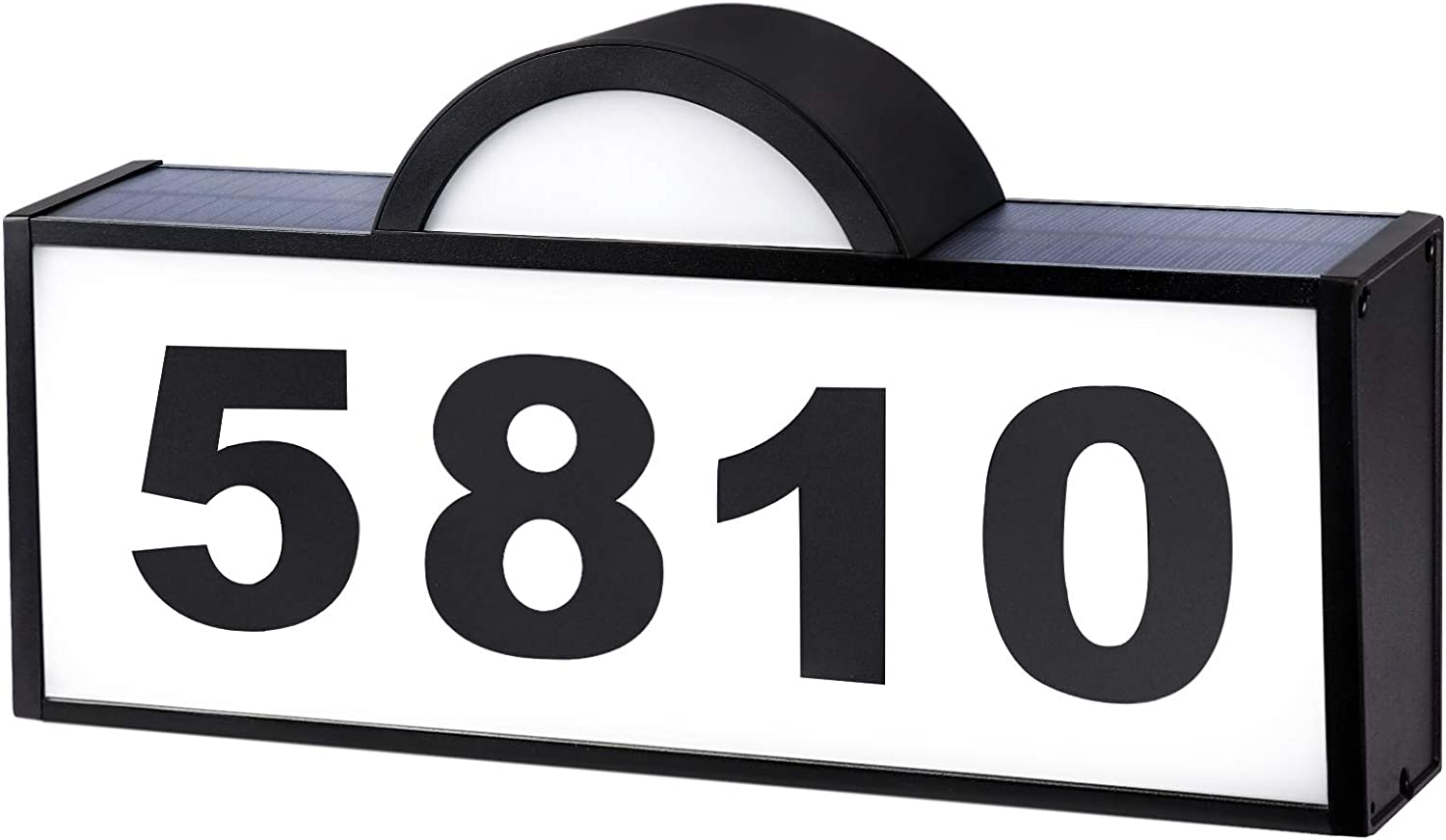 CINOTON House Numbers Solar Powered, Address Numbers Signs White/Warm LED Illuminated Outdoor IP65 Waterproof, Solar House Numbers Plaque Lighted for Outside Home Yard Garden Street Mail Box Aluminum