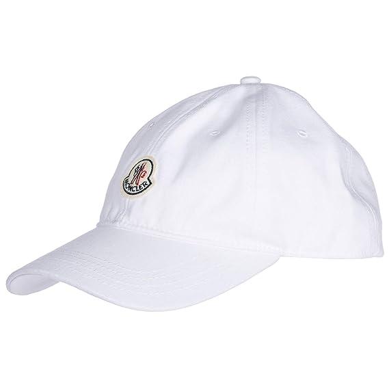 Moncler adjustable men s cotton hat baseball cap white  Amazon.co.uk ... 72a9504407b