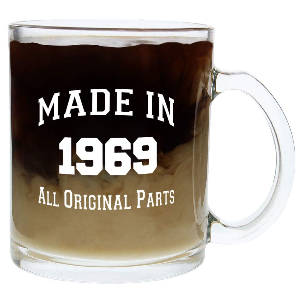 Amazon 50th Birthday Gifts For Women Or Men Made 1969 Gift Ideas Glass Coffee Mug Tea Cup White Kitchen Dining
