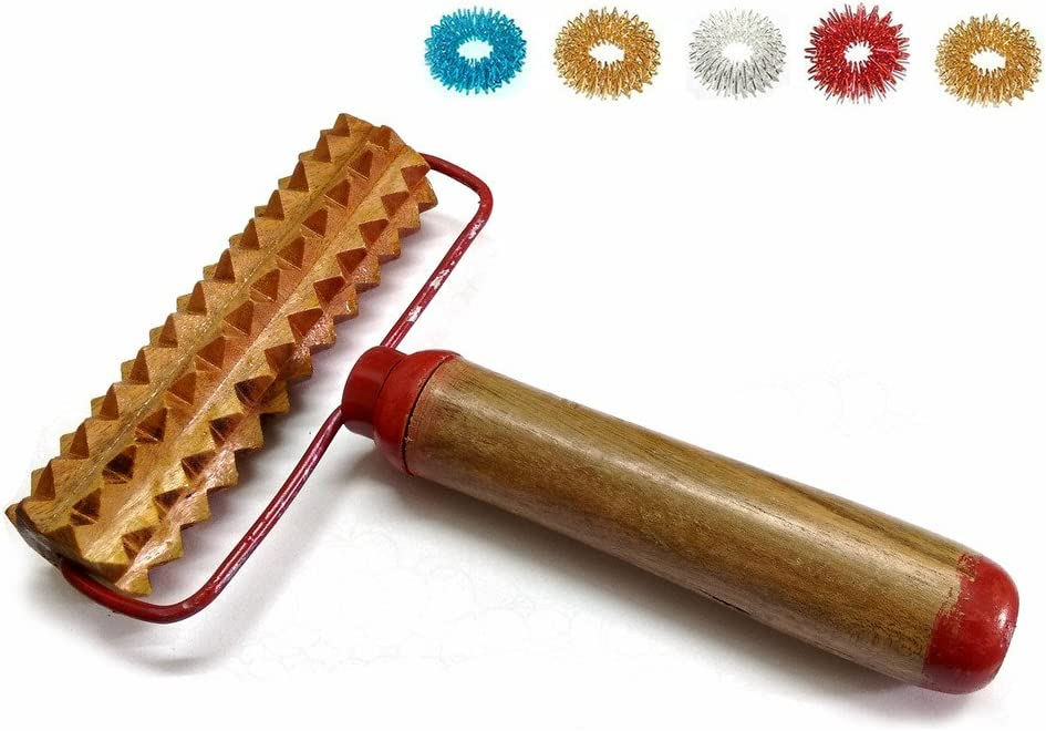 ACS/ACM Acupressure Pyramidal Energy Mega Wooden Hand Roller Body Massager with Handle + 5pcs Sujok Finger Rings Mega Wooden Roller - L X B X W – 18 X 14 X 4Cm Wooden Roller