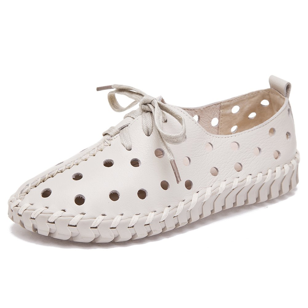 Shenn Women's Hollow Low Heel Lace up Comfort Leisure Leather Fashion Sneakers SN2709-2(White,US8)