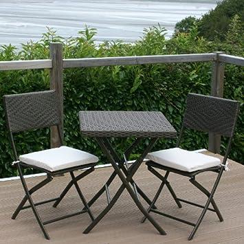 Table de Terrasse Pliante Résine Tressée + 2 Chaises de ...
