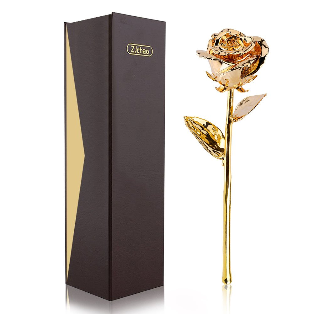 Amazon Com Zjchao 24k Gold Plated Real Rose Flower 11 Inches Long