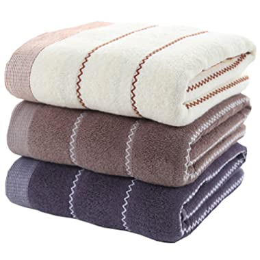 Anlye Cotton Hand Bath Towel Set-(3-Pack,14 x 30 inches) Multipurpose Use Towel Bath for Bath, Hand, Face, Gym and Spa (Stripe)