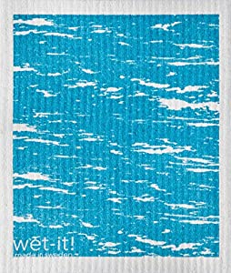Swedish Treasures Wet-it! Cleaning Cloth, Waves in Blue, Super Absorbent, Reusable, Biodegradable, All-purpose