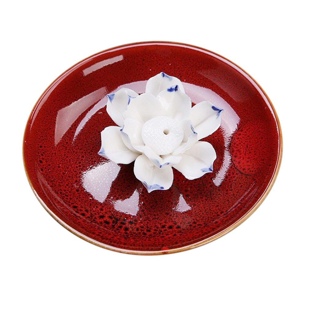 Homyl NEW Round Ceramic Handmade Incense Holder Burner Stick Lotus Ash Catcher For Home Deco - Blue, as described